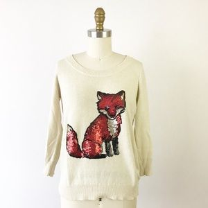 Cooperative Fox Sequin 3/4 Sleeve Sweater M L67